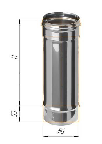 Дымоход 0,5 ∅ 100 (430 / 0,5)