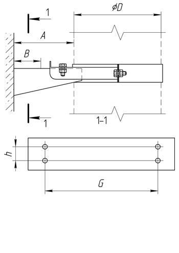 Кронштейн раздвижной №1 ∅ 115 (430 / 1,0)