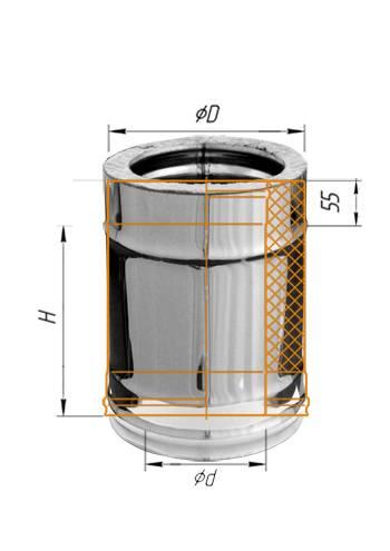 Сэндвич 0,25 м (оцинк.) ∅ 100×200 (430 / 0,5)