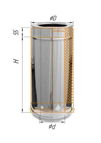 Сэндвич 0,5 м (оцинк.) ∅ 100×200 (430 / 0,5)