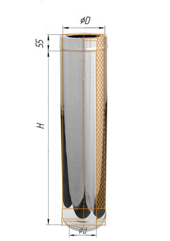 Сэндвич 1 м (нерж.) ∅ 130×200 (430 / 0,5)