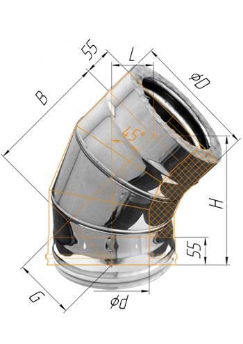 Сэндвич колено 45° (оцинк.) ∅ 110×200 (430 / 0,5)