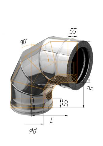 Сэндвич колено 90° (оцинк.) ∅ 100×200 (430 / 0,5)