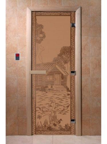 Дверь для бани Банька в лесу, матовая