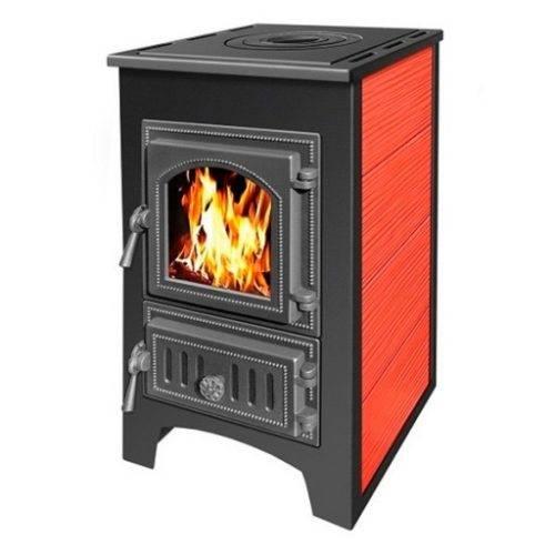 Печь — камин Везувий ПК — 01 красный с плитой 9 кВт дверка 270