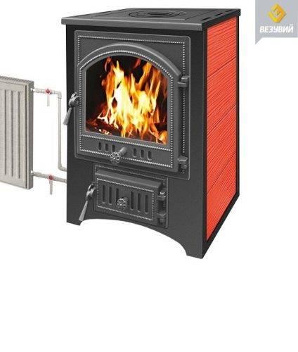 Печь — камин Везувий ПК — 01 красный с плитой 9 кВт дверка 270 то